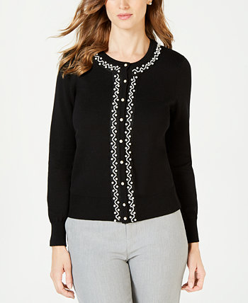 Faux Pearl Trim Cardigan, Created for Macy's Charter Club