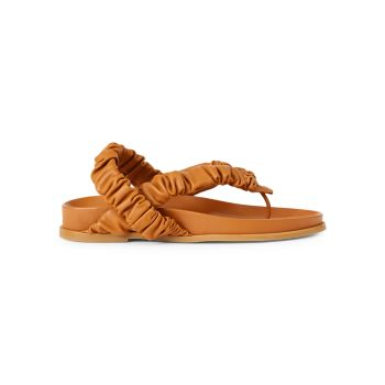 Helene Ruched Leather Slingback Thong Sandals Lafayette 148 New York