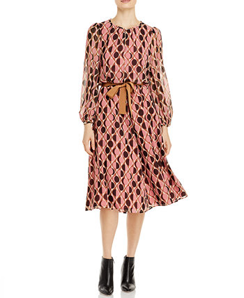 Circle-Print Tie-Waist Dress Marella