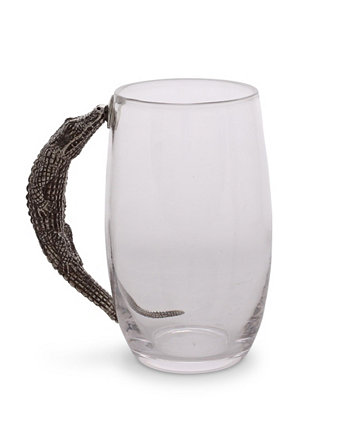 Glass Beer Mug with Pewter Alligator Handle Vagabond House
