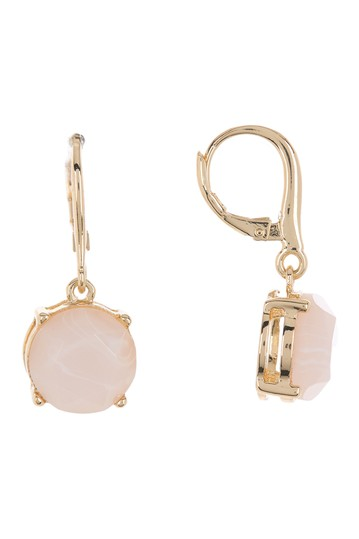 Brass Rose Quartz Drop Earrings Ralph Lauren
