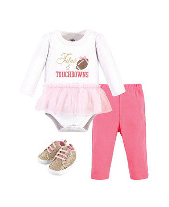 Baby Girls Cotton Bodysuit, Pant and Shoe Set Little Treasure