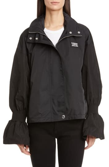 Neston Flare Cuff Water Resistant Rain Jacket Burberry