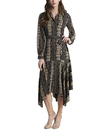 Women's Long Sleeve Asymmetrical Hem Printed Shirt Dress Vince Camuto