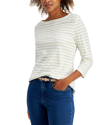 Petite Cotton Striped 3/4-Sleeve Top, Created for Macy's Charter Club