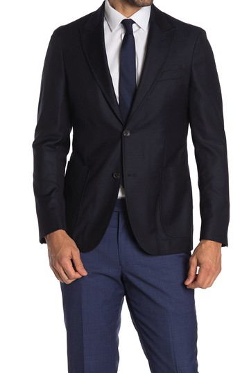 Navy Solid Two Button Peak Lapel Wool Sport Coat Strong Suit