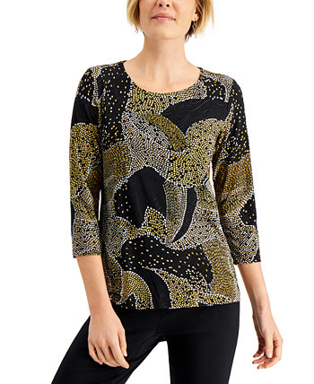 Printed Jacquard Top, Created for Macy's J&M Collection