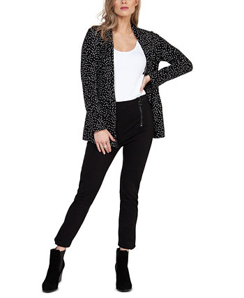 Polka-Dot Open-Front Blazer Black Tape