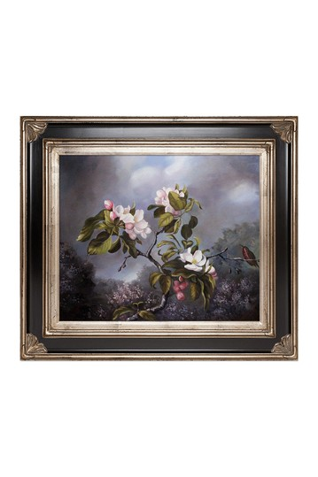 """Apple Blossoms & Hummingbird with Corinthian Aged Silver Frame , 30"""" x 34"""" No brands"""