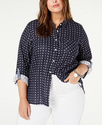 Plus Size Cotton Utility Shirt, Created for Macy's Tommy Hilfiger