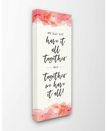 """Together We Have It All Peach Coral Watercolor Typography Canvas Wall Art, 10"""" L x 24"""" H Stupell Industries"""