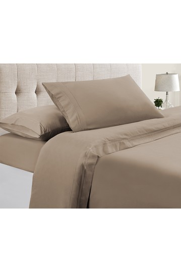 Manor Ridge Luxury 100 GSM Brushed Microfiber Extra Soft Hypoallergenic 3-Piece Double Marrow Hem Sheet Set, Taupe - Twin Modern Threads