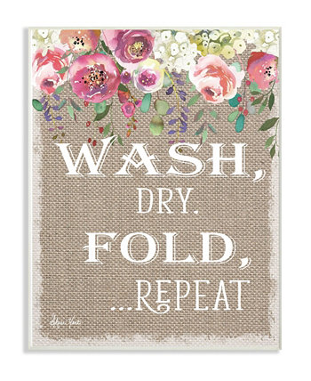 "Floral Linen Wash Dry Fold Wall Plaque Art 16"" L x 1.5"" W x 20"" H Stupell Industries"