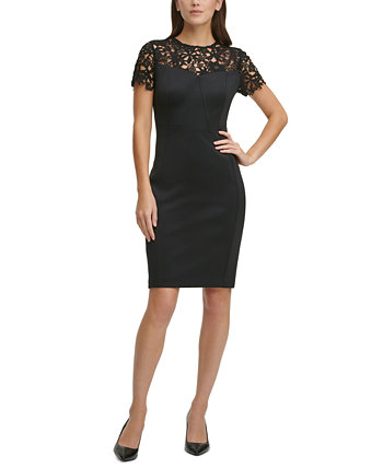 Lace-Top Scuba Sheath Dress Calvin Klein