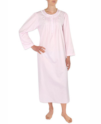 Embroidered Brushed-Back Long Satin Nightgown Miss Elaine