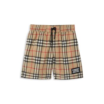 Little Boy's & Boy's KB7 Kameron Check Swim Trunks Burberry