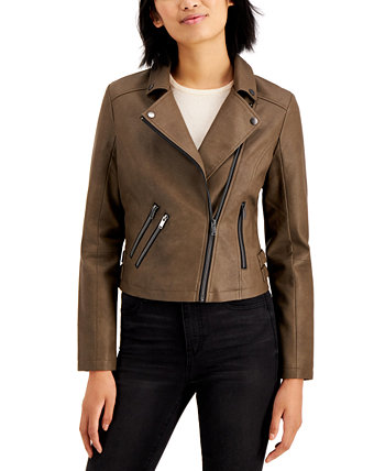 Juniors' Faux-Leather Moto Jacket CoffeeShop