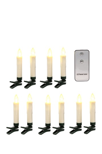 Battery-Operated Bisque-Colored Plastic LED Taper Candles - Set of 10 Gerson Company