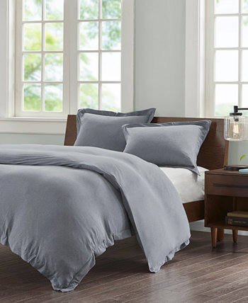 Cotton Jersey Knit King 3 Piece Heathered Duvet Cover Mini Set INK+IVY