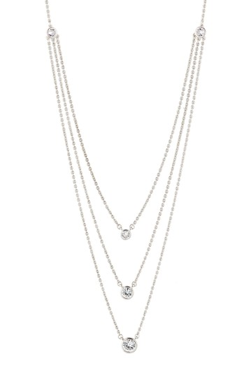 Round CZ Triple Layered Necklace CZ By Kenneth Jay Lane
