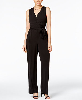 Petite Surplice Belted Wide-Leg Jumpsuit NY Collection