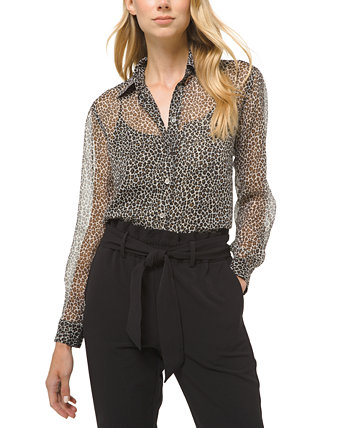 Sheer Animal-Print Shirt Michael Kors