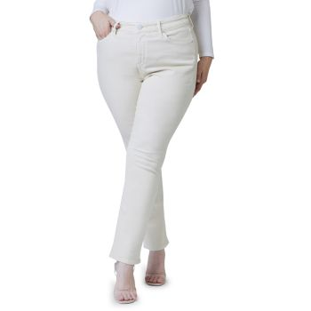 High-Rise Straight-Leg Silhouette Slink Jeans, Plus Size