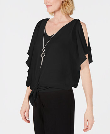 Tie-Front Necklace Blouse, Created for Macy's J&M Collection