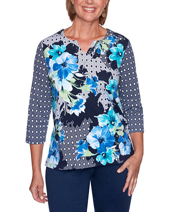Petite Vacation Mode Mixed-Print Top Alfred Dunner