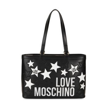 Star & Logo Embroidery Tote LOVE Moschino