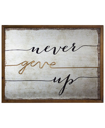 American Art Decor Rustic Never Give Up Inspirational Quote Crystal Art Gallery