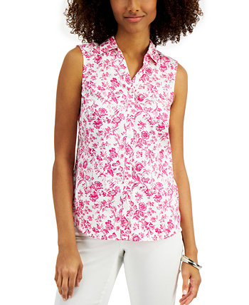 Petite Floral-Print Sleeveless Blouse, Created for Macy's Charter Club