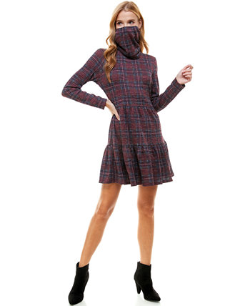 Juniors' Plaid Tiered Dress & Face Mask Scarf BE BOP