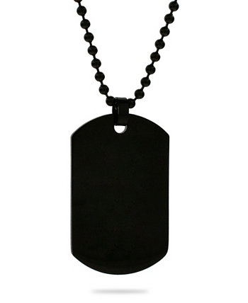 Men's Black Plated Medium Stainless Steel Dog Tag Necklace Eve's Jewelry