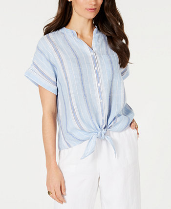 Petite Linen Striped Tie Top, Created for Macy's Charter Club