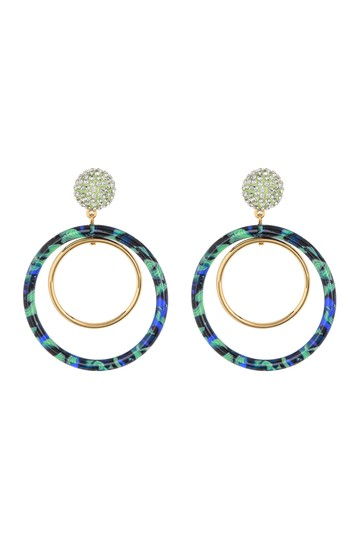 Crystal Pave Double Ring Drop Earrings Lele Sadoughi