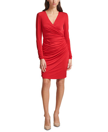 Crossover Ruched Dress Vince Camuto
