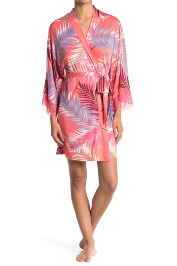 Till Palm Leaf Wrap Short Robe In Bloom by Jonquil