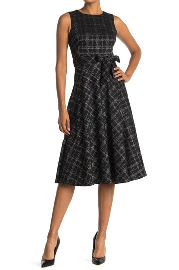 Windowpane Tie Waist Fit & Flare Midi Dress Calvin Klein
