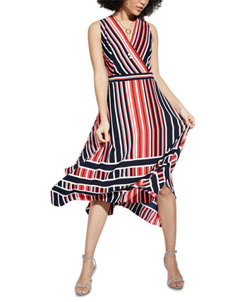 Striped Handkerchief-Hem Midi Dress Karl Lagerfeld Paris