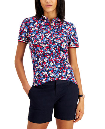 Cotton Floral-Print Puff-Sleeve Polo Tommy Hilfiger