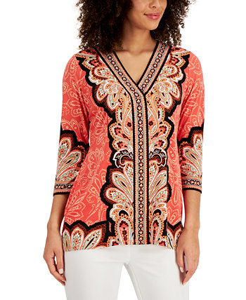 Mixed-Print Tunic Top, Created for Macy's J&M Collection