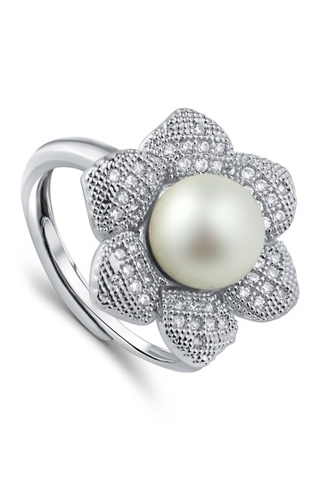 Pave CZ Pearl Flower Ring CZ By Kenneth Jay Lane