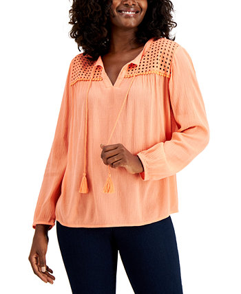 Petite Linen Peasant Top, Created for Macy's Charter Club