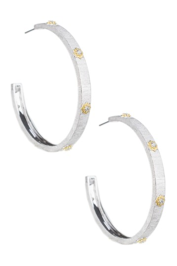 Round CZ Floral 51mm Hoop Earrings CZ By Kenneth Jay Lane