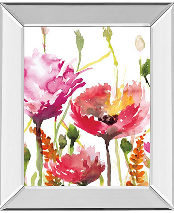 """Blooms and Buds by Rebecca Meyers Mirror Framed Print Wall Art - 22"""" x 26"""" Classy Art"""