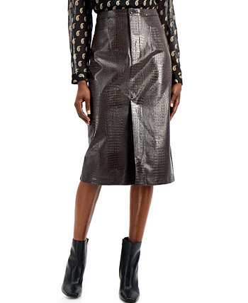 INC Faux-Leather Front-Slit Pencil Skirt, Created for Macy's INC International Concepts