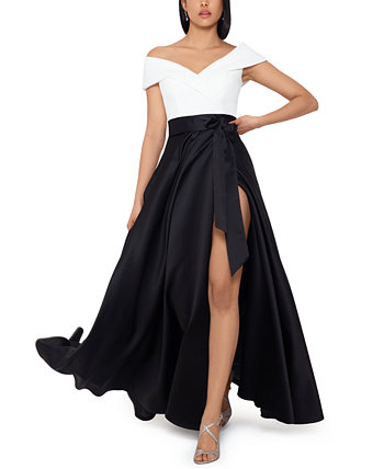 Colorblocked Off-the-Shoulder Ball Gown XSCAPE