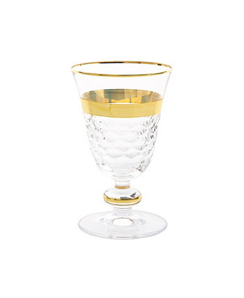 Short Stem Glasses with Gold-Tone Crystal Detail, Set of 6 Classic Touch