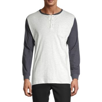 Long-Sleeve Cotton Henley Unsimply Stitched